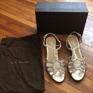 Elie Tahari silver strappy sandals